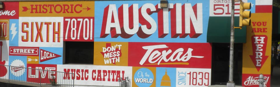 Frontage signs on 6th Street, Austin, Texas
